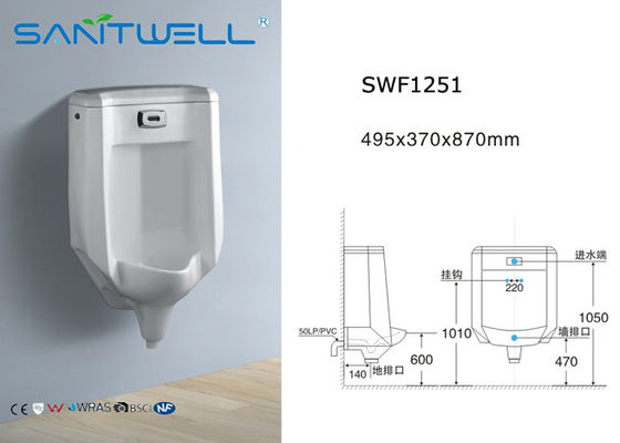 Retrofit Keramik Washdown Urinal SWF 1251 495 * 370 * Ukuran 870 mm