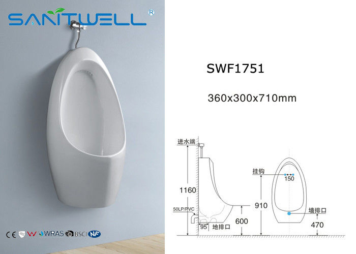 Kid Ceramic Urinal Wall Hung Saving Water 360 * 300 * Ukuran 710 mm pemasok